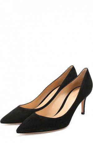 Замшевые туфли Classic на шпильке Gianvito Rossi. Цвет: черный