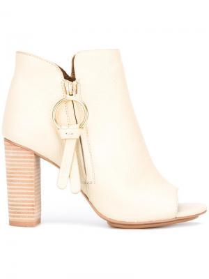 Ботинки с открытым носком See By Chloé. Цвет: телесный