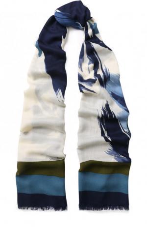 Шаль из смеси кашемира и шелка с принтом Loro Piana. Цвет: синий