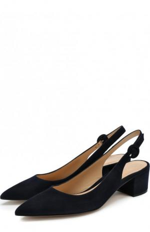 Замшевые туфли Amee на устойчивом каблуке Gianvito Rossi. Цвет: темно-синий