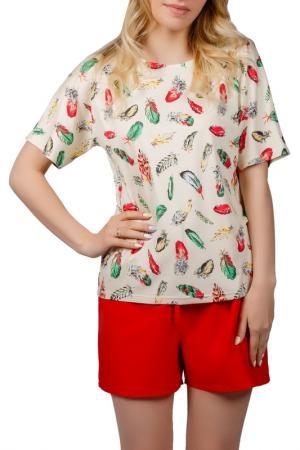 Пижамный комплект Sonett. Цвет: желто-красный