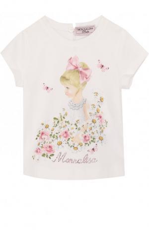 Хлопковая футболка с принтом и стразами Monnalisa. Цвет: белый