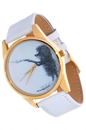 Часы Ежик с веточкой MITYA VESELKOV. Цвет: белый
