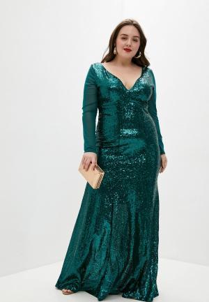 Платье Goddiva Size Plus. Цвет: бирюзовый