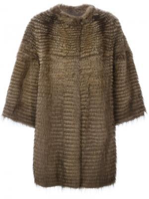 Норковая шуба с рукавами три четверти Liska. Цвет: коричневый