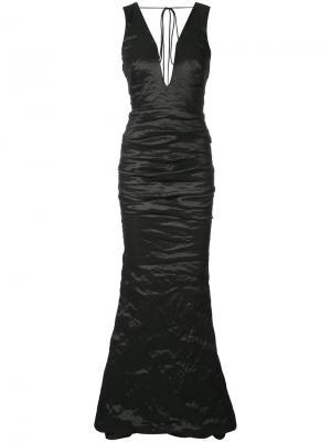 Креповое вечернее платье Nicole Miller. Цвет: чёрный