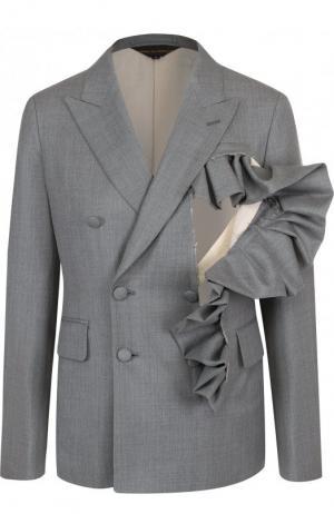 Однотонный шерстяной жакет с оборками Comme des Garcons. Цвет: серый