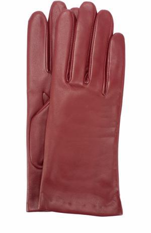 Кожаные перчатки с подкладкой из кашемира и шерсти Agnelle. Цвет: бордовый
