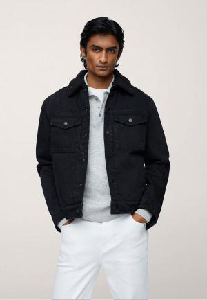 Куртка джинсовая Mango Man. Цвет: черный