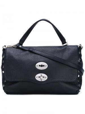 Большая сумка-тоут Postina Zanellato. Цвет: синий