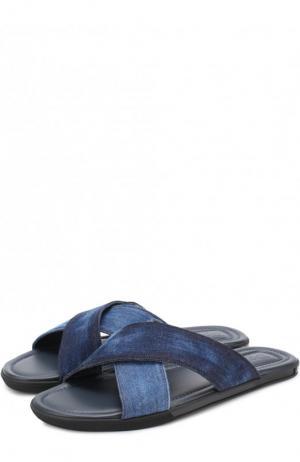 Джинсовые шлепанцы с потертостями Doucals Doucal's. Цвет: темно-синий