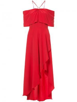 Платье с открытыми плечами и оборками Yigal Azrouel. Цвет: красный
