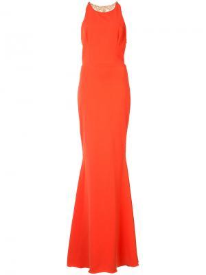 Платье с украшением из бусин на спине Marchesa Notte. Цвет: жёлтый и оранжевый