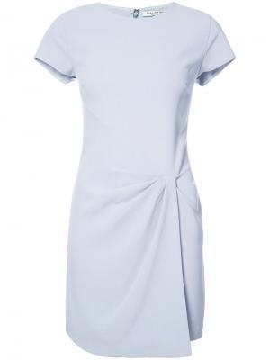 Платье-футболка со сборками на бедре Halston Heritage. Цвет: синий