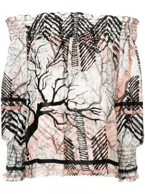 Блузка с открытыми плечами и рисунком Yigal Azrouel. Цвет: белый