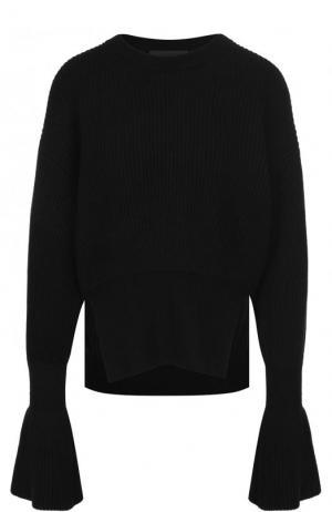 Пуловер из смеси шерсти и кашемира фактурной вязки Alexander Wang. Цвет: черный